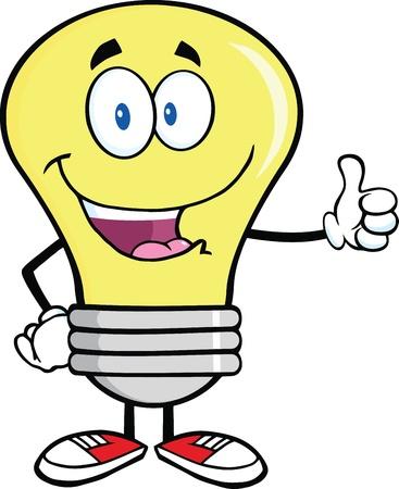 smiley pouce: Ampoule personnage mascotte de dessin anim� donnant un pouce