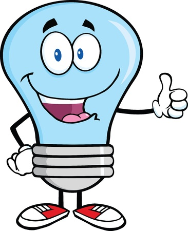 thumbs up icon: Blue Light Bulb Cartoon Mascot Character Giving A Thumb Up Illustration