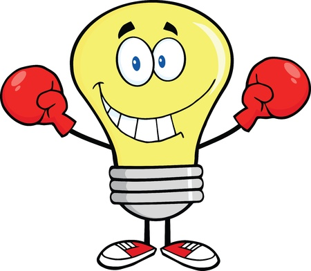 Smiling Light Bulb Cartoon Character Wearing Boxing Gloves Vector