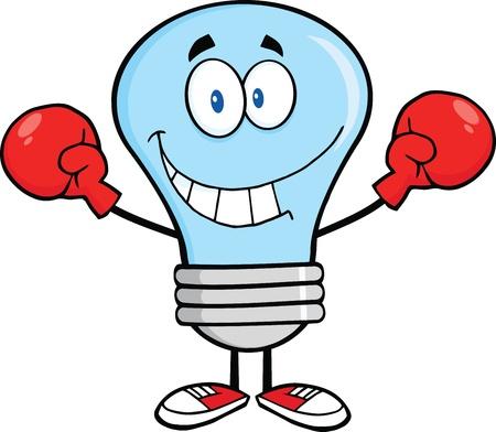 guantes boxeo: Azul sonriente bombilla personaje de dibujos animados con guantes de boxeo