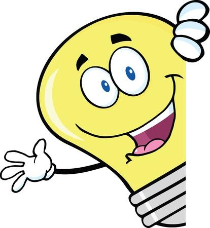 electric bulb: Light Bulb Cartoon Character Waving Behind A Sign