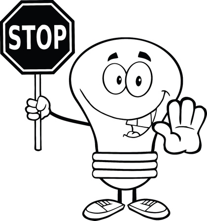 stop light: Outlined Light Bulb Cartoon Character Holding A Stop Sign