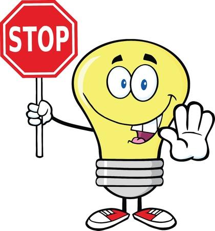 Light Bulb Cartoon Character Holding A Stop Sign Vettoriali