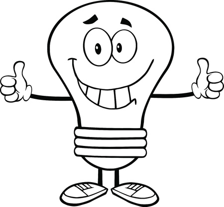 Outlined Light Bulb Cartoon Character Giving A Double Thumbs Up Stock Vector - 21311695