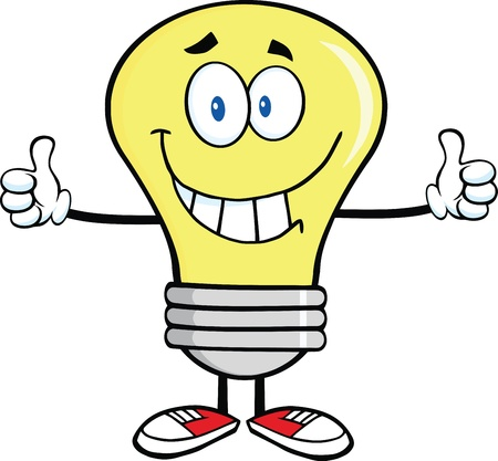 Smiling Light Bulb Cartoon Character Giving A Double Thumbs Up