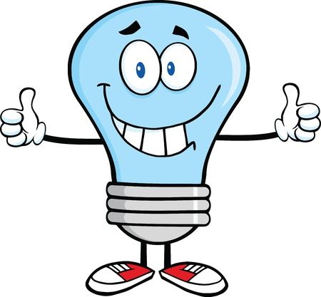 Smiling Blue Light Bulb Cartoon Character Giving A Double Thumbs Up Ilustração