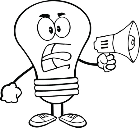 Outlined Angry Light Bulb Cartoon Character Screaming Into Megaphone