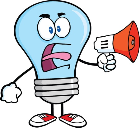 Angry Blue Light Bulb Cartoon Character Screaming Into Megaphone Vector