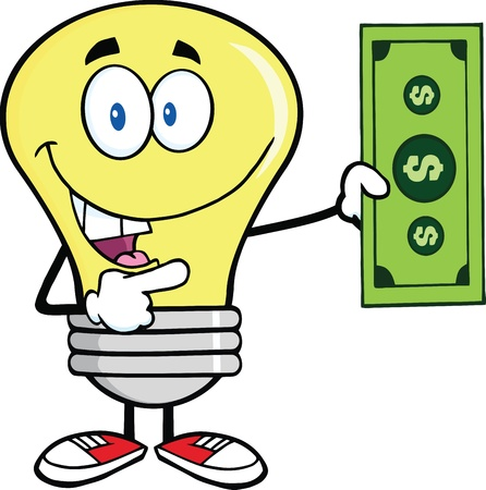 yellow bulb: Light Bulb Character Showing A Dollar Bill
