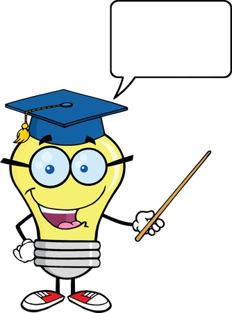 Smiling Light Bulb Teacher Character With A Pointer And Speech Bubble Vector