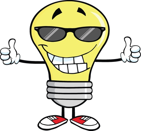 Smiling Light Bulb With Sunglasses Giving A Double Thumbs Up Vector