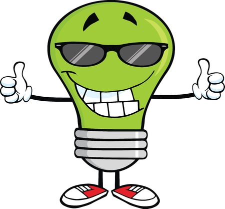 thumbs up: Smiling Green Light Bulb With Sunglasses Giving A Double Thumbs Up Illustration
