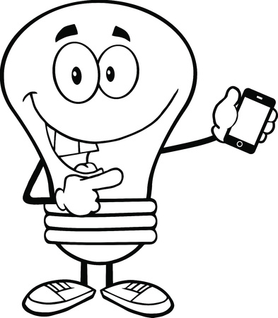 Outlined Light Bulb Character Holding A Mobile Phone