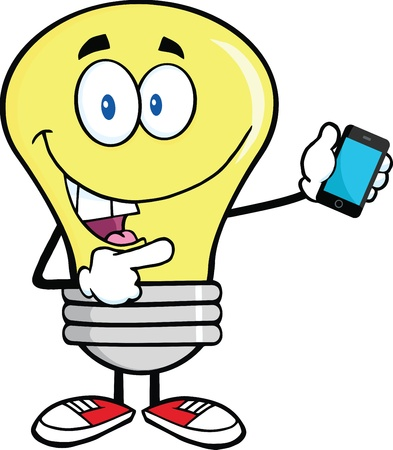 Light Bulb Character Holding A Mobile Phone Vector