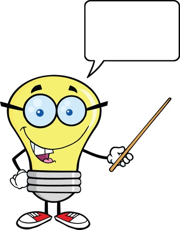 Smiling Light Bulb Character With A Pointer And Speech Bubble