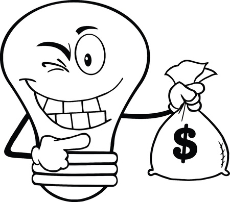 Outlined Light Bulb Cartoon Mascot Character Holding A Bag Of Money Vector