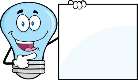 Blue Light Bulb Cartoon Mascot Character Showing A Blank Sign