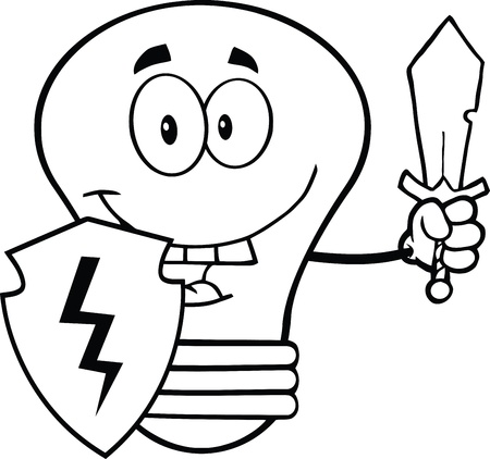Outlined Light Bulb Guarder With Shield And Sword Vector