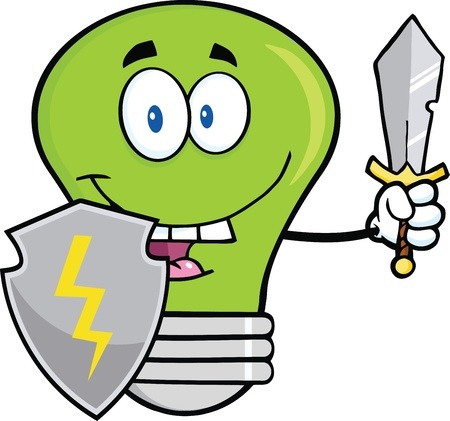 Green Light Bulb Guarder With Shield And Sword Vector