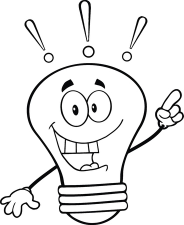 outlined isolated: Outlined Light Bulb Cartoon Mascot Character With A Bright Idea