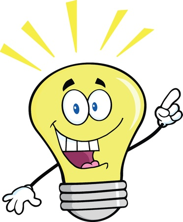 Light Bulb Cartoon Mascot Character With A Bright Idea Illusztráció