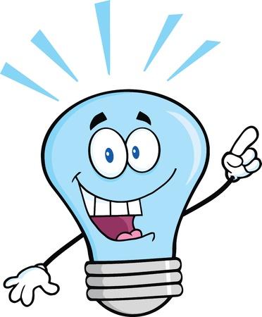 id�e lumineuse: Bleu Ampoule caract�re l�ger de dessin anim� avec une id�e lumineuse