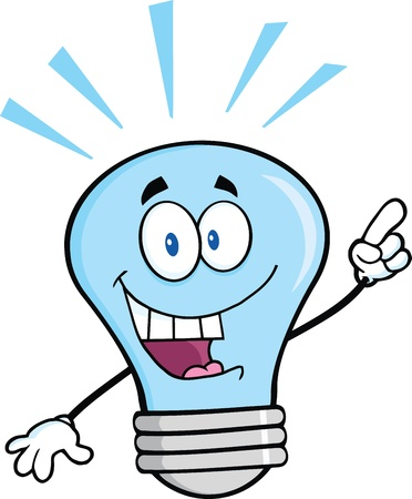 Blue Light Bulb Cartoon Character With A Bright Idea