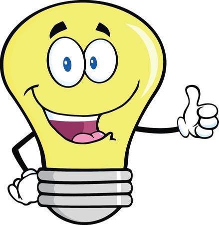 bulb: Gl�hlampe Cartoon-Maskottchen-Buchstaben geben einen Daumen