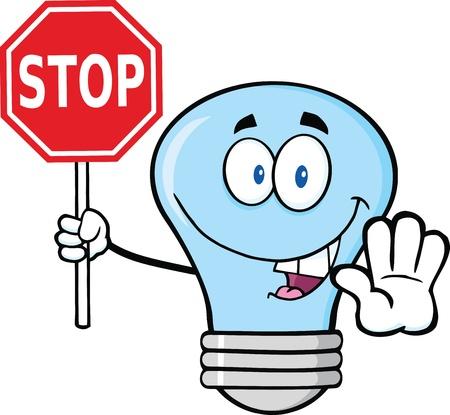 stop light: Blue Light Bulb Cartoon Character Holding A Stop Sign Illustration