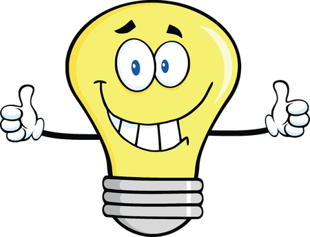 Smiling Light Bulb Character Giving A Double Thumbs Up