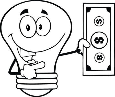 outlined isolated: Outlined Light Bulb Character Showing A Dollar Bill