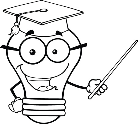 Outlined Smiling Light Bulb Teacher Character With A Pointer Vector