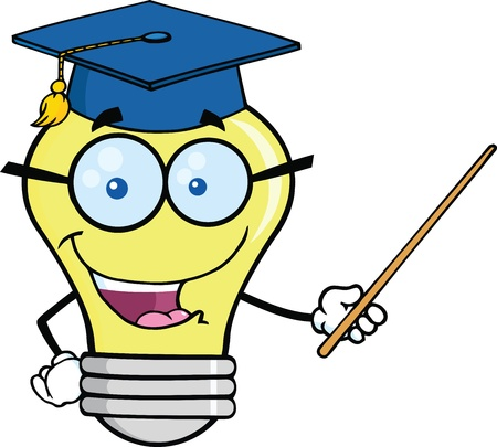 Smiling Light Bulb Teacher Character With A Pointer Vector