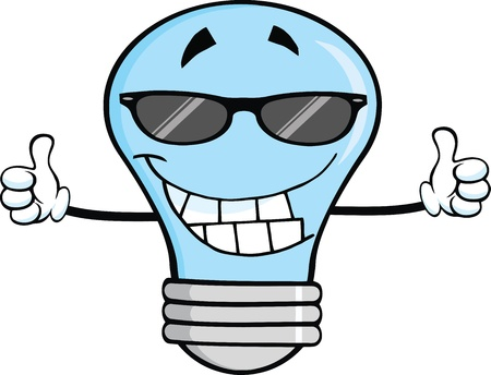 cartoon light bulb: Smiling Blue Light Bulb With Sunglasses Giving A Double Thumbs Up