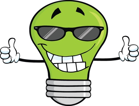 thumbs up icon: Smiling Green Light Bulb With Sunglasses Giving A Double Thumbs Up Illustration