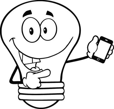 Geschetste Gloeilampenkarakter die een mobiele telefoon