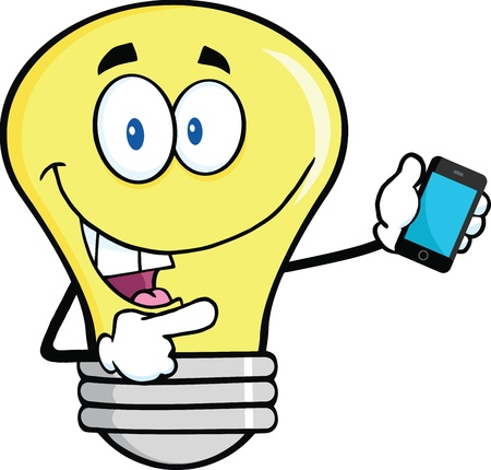head phones: Light Bulb Character Holding A Mobile Phone