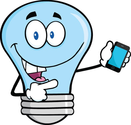 mobile cartoon: Blue Light Bulb Character Holding A Mobile Phone