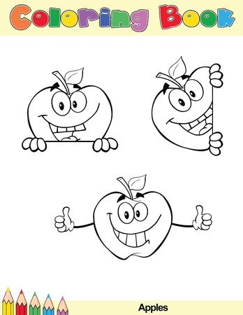Coloring Book Page Apples Cartoon Character 1 Vector