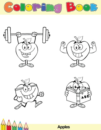 Coloring Book Page Apples Cartoon Character 2 Vector