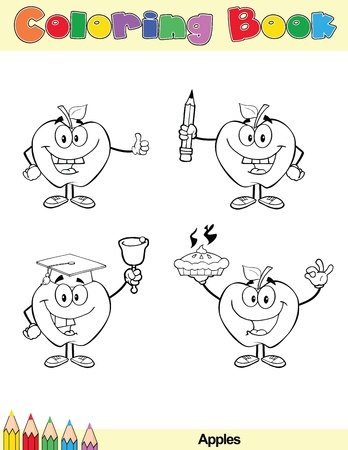 Coloring Book Page Apples Cartoon Character 4 Vector