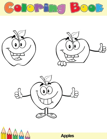Coloring Book Page Apples Cartoon Character 5 Vector
