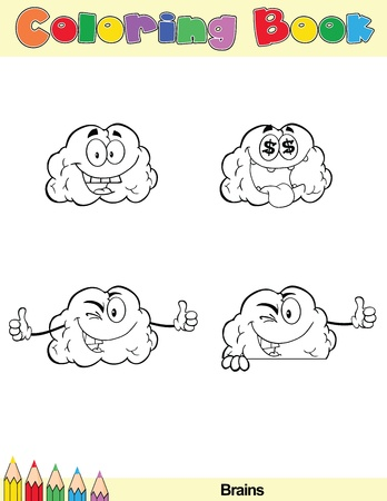 Coloring Book Page Brain Cartoon Character 1 Stock Vector - 21311874