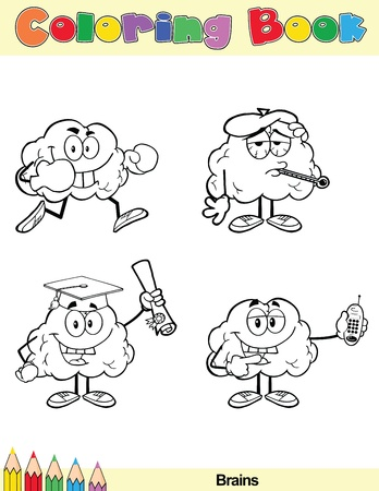 Coloring Book Page Brain Cartoon Character 2 Vector