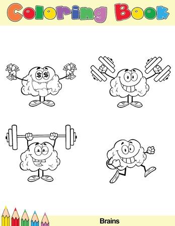 cerebro blanco y negro: Coloring Book Page cerebro personaje de dibujos animados 3