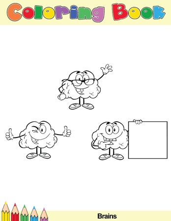 Coloring Book Page Brain Cartoon Character 4 Vector