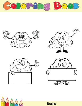 Coloring Book Page Brain Cartoon Character 5 Vector