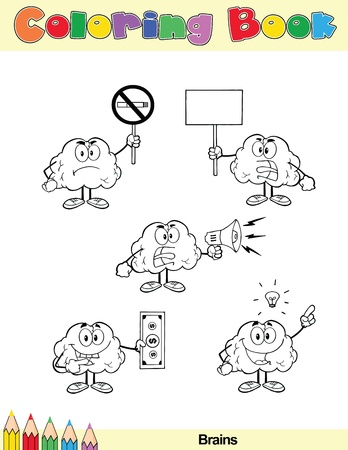 Coloring Book Page Brain Cartoon Character 7 Vector