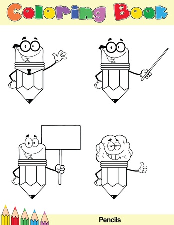 Coloring Book Page Pencil Cartoon Character 3 Vector