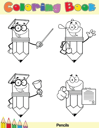 Coloring Book Page Pencil Cartoon Character 4 Vector